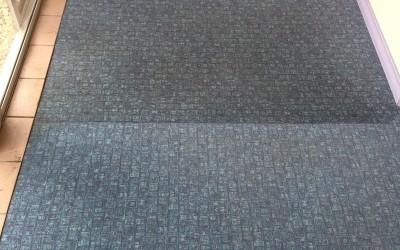 Tepovanie kobercov Bratislava - koberec porovnanie očisteného a špinavého.